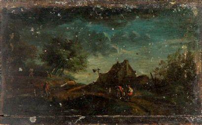 SUR LE CHEMIN Huile sur panneau. XIXe siècle....