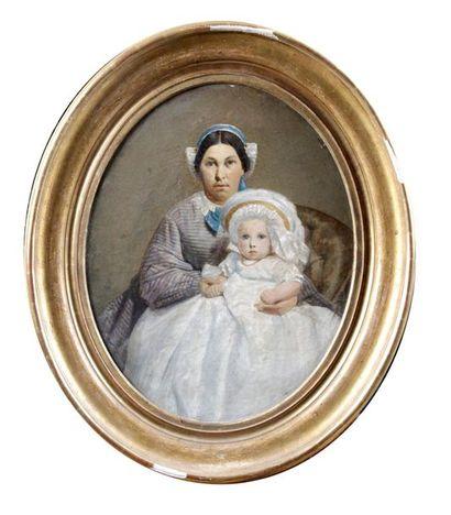 MÈRE ET SON ENFANT Huile sur toile. 41 x...
