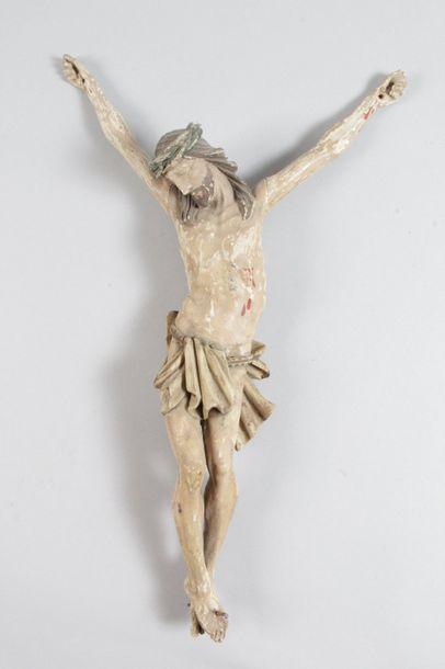 CHRIST en bois sculpté polychrome d'époque...