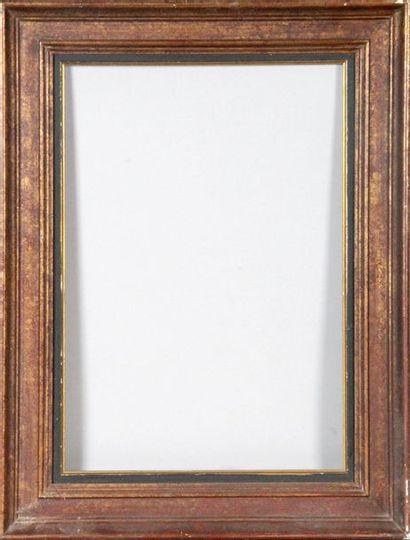 CINQ CADRES en bois doré et laqué. 53 x 44;...