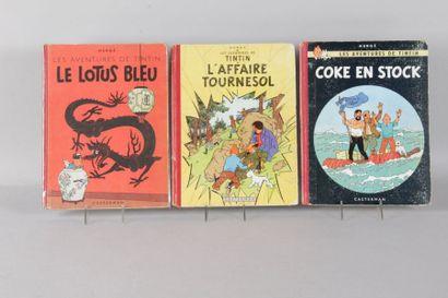 Trois album de TINTIN: Coke en stock 1952...
