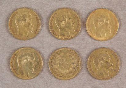6 PIÈCES DE 20 F or à l'effigie de Napoléon...