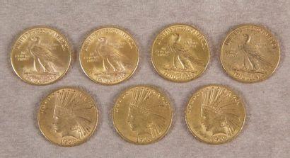 SEPT PIÈCES AMÉRICAINES DE 10$ or type Indien,...