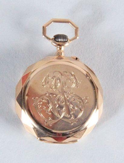 MONTRE CHÂTELAINE en or jaune à remontoir d'époque Napoléon III, boîtier monogrammé,...