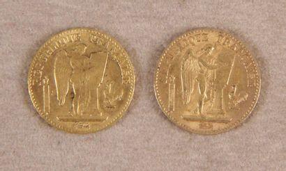 DEUX PIÈCES DE 20 F or au Génie. Paris, 1871/1896.