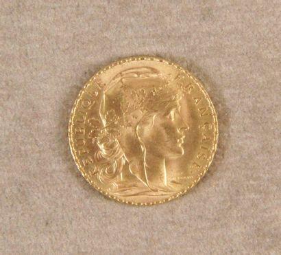 PIÈCE DE 20 F or au Coq. Année 1908.