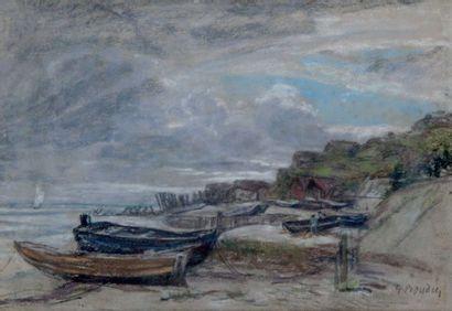 Eugène BOUDIN - 1824-1898 BARQUE SUR LA GRÈVE Pastel signé en bas à droite. 20 x...