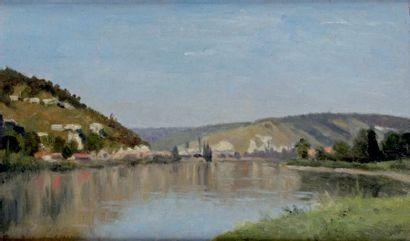 Stanislas LÉPINE - 1835-1892 LA SEINE EN AMONT DE ROUEN, 1870-1874 Huile sur toile...
