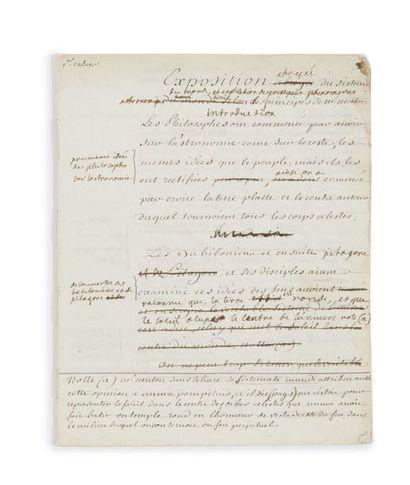 ÉMILIE DU CHÂTELET (1706-1749) «Exposition abregée du sisteme du monde selon les...
