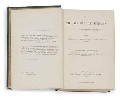Charles DARWIN (1809-1882) On the Origin of Species Londres, J. Murray, 1859 In-8...