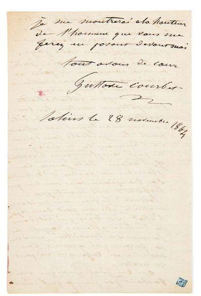 Gustave Courbet (1819-1877) Lettre autographe signée à Victor Hugo Salins, 28 novembre...