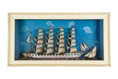 Rare diorama du 5 mâts France 67 x 125 c...