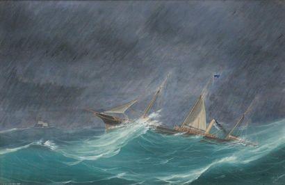 Tomaso de Simone (XIX-XX) Le yacht cavalier...