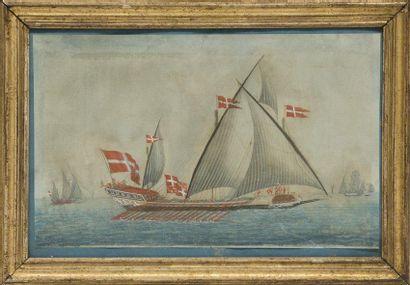 Ecole française du XVIIIème siècle Galère. Gouache. 29 x 46 cm.