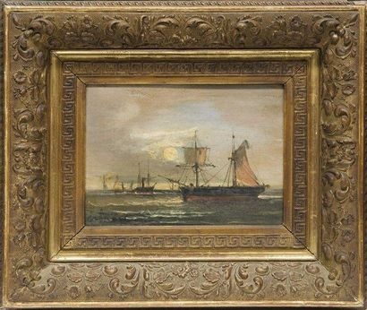 CABANNE Marine. Paire d'huiles sur panneau. Signées. 16 x 22 cm.