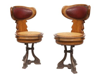 Paire de fauteuils de paquebot Pied tripode...