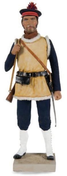 Marsouin Personnage en bois. H.: 23 cm.