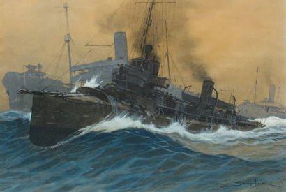 Sandy HOOK (1879-1960) Torpilleur. Aquarelle. 47 x 71 cm.