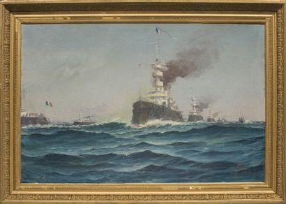 Ecole française Escadre navale, fin XIXème siècle. Huile sur toile. 65 x 100 cm.