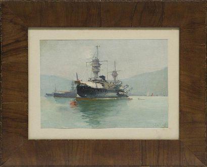 Le ROCH Cuirassé au mouillage. Huile sur panneau. 23 x 34 cm.