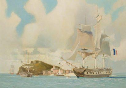 Claude Le BAUDE (1919-2007) Escadre navale aux Antilles. Huile sur toile. 65 x 93...