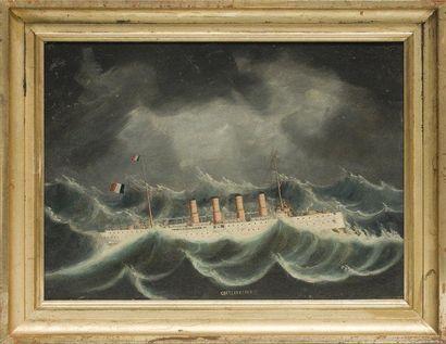 Ecole chinoise Le croiseur Chateau-Renault. Huile sur toile. Epoque fin XIXème siècle....