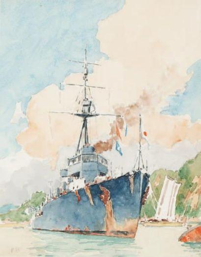 Frédéric BERNELLE Croiseur japonais. Aquarelle. 35 x 27 cm.
