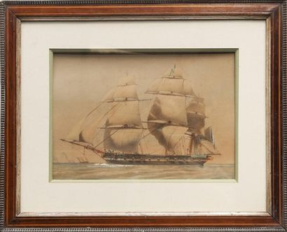 Antoine Léon MOREL FATIO (1810-1871) Bateau militaire. Aquarelle. Signée en bas à...