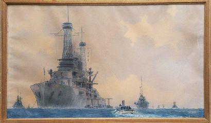 Sandy HOOK (1879-1960) Escadre navale. Gouache. Signée en bas à droite. Datée 1918....