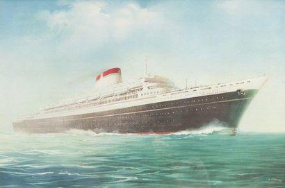Affiche de la compagnie de naviguation Italia...