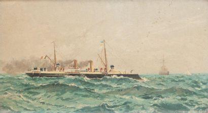 Ecole française de la fin du XIXème siècle Croiseur Huile sur toile. 33 x 41 cm
