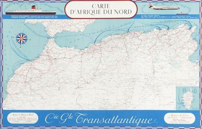 Cie Générale Transatlantique Carte Afrique...