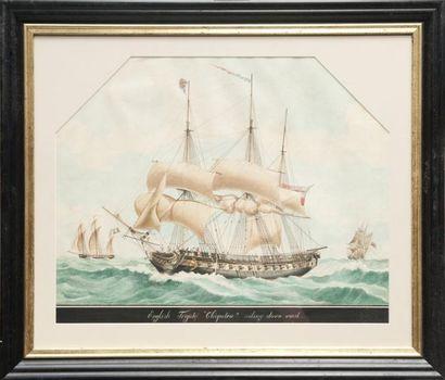 Ecole anglaise du XIXème siècle Frégate «Cleopatra». Aquarelle. 44 x 54 cm