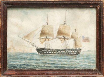 Ecole du XIXème siècle Vaisseau américain de premier rang devant le port de Marseille....