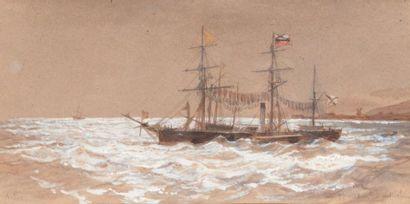 A.P.Y Canonnière russe en quarantaine en rade de Teneriffe. Gouache. 14 x 28 cm