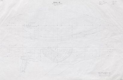 Plan de forme du bateau Frioul 38 par l'architecte...
