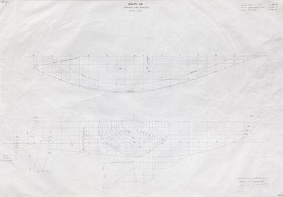 Plan de forme du bateau Delf 28 par l'architecte...