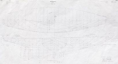 Plan de forme du bateau Hispania V par l'architecte...