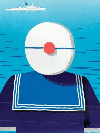 Affiche Marine Nationale. Engagez-vous. J.Desaleux. 65 x 41 cm. Bon état