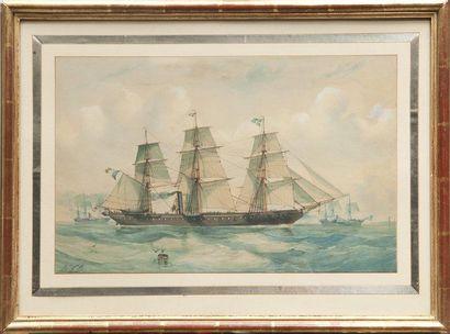 Ecole française de la moitié du XIXème siècle Bateau mixte de la Marine Nationale....