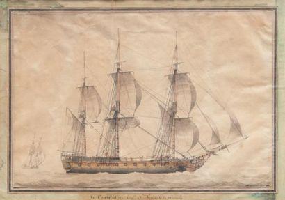 Nicholas CAMMILLIERI (1762-1860) Le «Consolateur». Aquarelle. Signée en bas à droite...