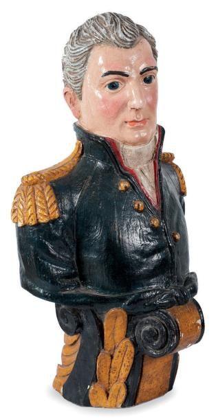 Figure de proue polychrome représentant un officier de marine Europe du nord. H.:...