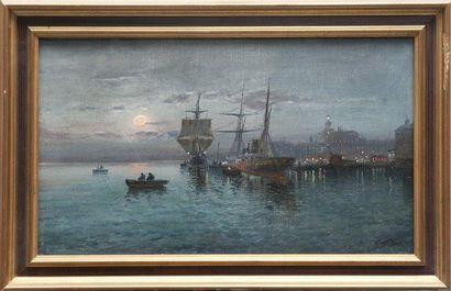 Ecole française de la fin du XIXème siècle Entrée du port. Huile sur toile. Porte...