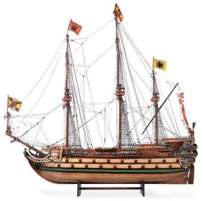 Importante maquette du trois mâts «Santissima Madre». Bateau de guerre espagnol...
