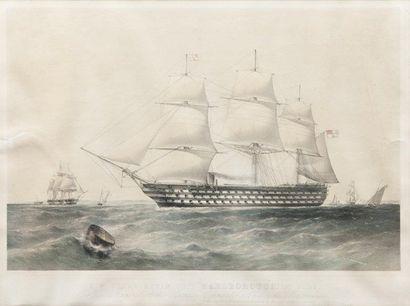 Lithographie en couleurs H. M. SCROW STEAM SHIP «MARLBOROUGH», 131 guns. 47 x 63...