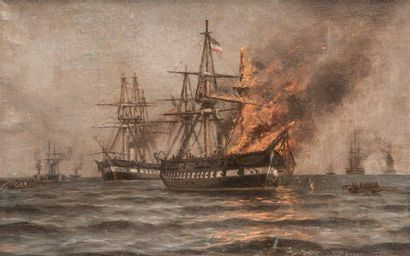Ecole allemande de la fin du XIXème siècle Bataille navale. Huile sur toile. 33 x...