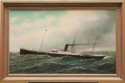 Marie-Edouard ADAM (1847-1929) Le Patpia en mer battant pavillon français. Huile...