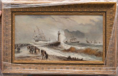 Henri VAN WYK (1833/?) Animation sur la jetée. Huile sur toile. Signée en bas à gauche....