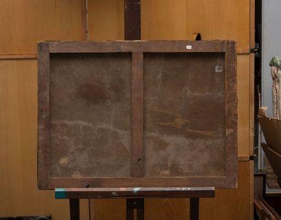 ÉCOLE NORMANDE du XIXème siècle Marée basse. Huile sur toile. 54 x 74 cm
