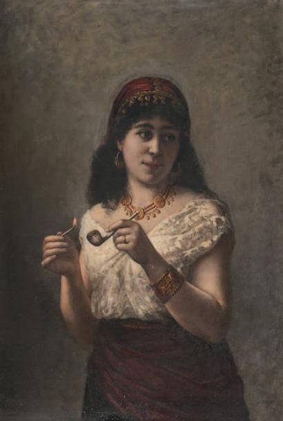 Ecole Orientaliste du XIXème siècle La bohémienne à la pipe. Huile sur toile. Monogrammée...